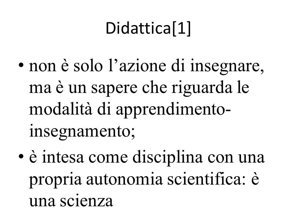 Didattica[1] non è solo l'azione di insegnare, ma è un sapere che riguarda le modalità di apprendimento-insegnamento;